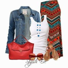 Ready for warm weather....tribal skirt, tank and jacket find more women fashion…