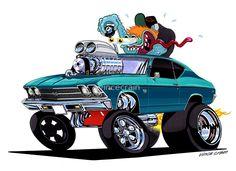 "1968 Chevelle Super Sport ""Just Idlin"" , classic Muscle Car drawing by Vince Crain High Octane Art 1969 Chevy Chevelle, Cool Car Drawings, Pencil Drawings, Pt Cruiser, Garage Art, Automotive Art, Vintage Motorcycles, Cool Cartoons, Art Cars"