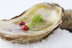 Oysters with grapefruit, fennel and red pepper