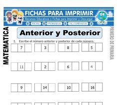 Anterior y Posterior para Primero de Primaria - Fichas para Imprimir Math For Kids, Crafts For Kids, Anterior Y Posterior, Kids Math Worksheets, Homeschool, Teacher, Education, Learning, Google