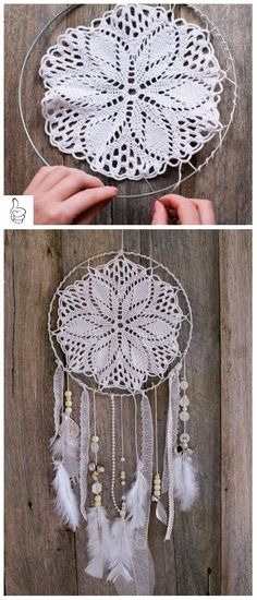 dreamchaters Diy Dream Catcher Tutorial Kinder Windspiele 62 Beste Ideen Greenhouses - what do you g Doily Dream Catchers, Dream Catcher Boho, Diy Dream Catcher For Kids, Doilies Crafts, Lace Doilies, Crochet Doilies, Diy And Crafts Sewing, Diy Crafts, Craft Tutorials