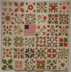 Wedding album quilt made in 1864 for Mary Nevius Potter, Pottersville, New Jersey.