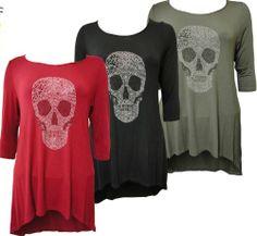 0e56213707b  33.99 Womens Plus Size Skull Stud Detail 3 4 Sleeve Dipped Hem Tunic Tops