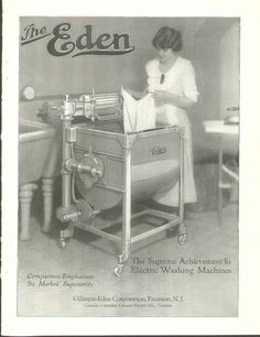 Vintage Washing Machine By Eden. Click the image for more information. Old Washing Machine, Washing Machines, Retro Posters, Vintage Posters, Vintage Advertisements, Vintage Ads, Primitive Laundry Rooms, Retro Appliances, Vintage Housewife