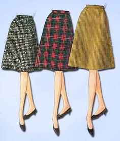 1960s Vintage McCalls Sewing Pattern 7407 Easy to Sew Misses Skirt Size 28 Waist