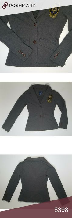 Ralph Lauren Family Crest Grey Cloth Blazer * Two Buttons Down Front, Three Buttons On Sleve Cuffs, And Two Front Pockets By Hips  * In Pristine Condition, Without Tags Ralph Lauren Blue Label Jackets & Coats Blazers