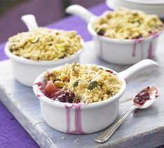 Pear & blackberry crumbles, Use pear instead of apple in these individual versions of the classic pud with a crunchy pistachio topping. Bbc Good Food Recipes, Fall Recipes, Cooking Recipes, Just Desserts, Delicious Desserts, Dessert Recipes, Blackberry Crumble, Crumble Recipe, English Food