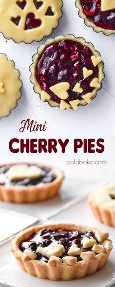 Tart Cherry Pies, Mini Cherry Pies, Homemade Cherry Pies, Mini Tart, Mini Pies, Tart Recipes, Baking Recipes, Dessert Recipes, Baking Ideas