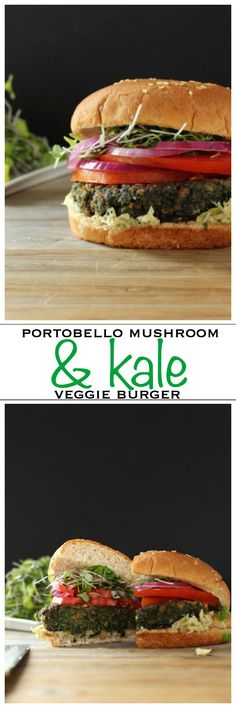 A juicy veggie burger made from portobello mushroom and healthy kale | Foodness Gracious