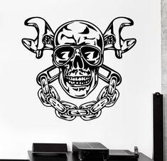 Vinyl Wall Decal Skull Chain Auto Car Repair Service Garage Stickers Unique Gift (270ig)