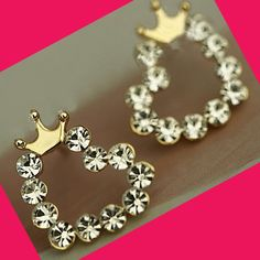 Crowned Shiny Hearts Fashion Earrings | LilyFair Jewelry, $9.99!