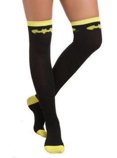 Black over-the-knee socks with yellow stripe and Batman logo at the top.