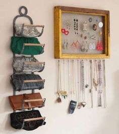 Wine rack repurposed into DIY purse storage