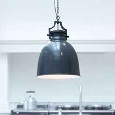 Shop our industrial-look, large metal pendant from our range of vintage, glass & modern pendant lighting for your kitchen, dining room & breakfast bar. UK-made, LEDs. Metal Ceiling, Ceiling Rose, Ceiling Pendant, Ceiling Lights, Large Pendant Lighting, Kitchen Pendant Lighting, Pendant Lights, Jim Lawrence Lighting, Light Shades