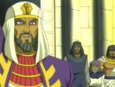 Pharaoh Aknamkanon waves to the soldiers who are praising and cheering with his two advisers whom are his sacred guardians and other guardians are present.