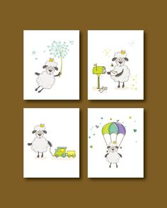 Sheep Nursery Art Print  Baby Sheep 4 Set  by HappyLittleBeans