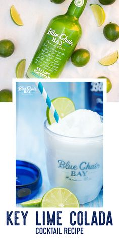 When life hands you limes, you make a Key Lime Colada. This creamy frozen drink recipe is the perfect cocktail for your day at the beach or by the pool. Blend all ingredients together. Pour into a cup rimmed with coconut flakes. Garnish with a lime wheel and a cherry. #bluechairbay #keyllimerumcream #BCBHappyHour Key Lime Rum Cream, Frozen Cocktails, Coconut Rum, Limes, Pineapple Juice, Coconut Flakes, Yummy Drinks, Cocktail Recipes, Beverages