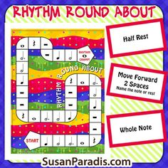 Learn Piano Lessons Rhythm Round About - to identify notes and rests - Susan Paradis Piano Teaching Resources - This is the best board game to teach beginning students the names of rhythm notes and they love it, too. Drum Lessons, Piano Lessons, Music Lessons, Lessons Learned, Piano Games, Piano Teaching, Learning Piano, Elementary Music, Music Classroom