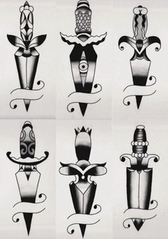 A dagger thigh tattoo would be nice. Knife Tattoo, Dagger Tattoo, 1 Tattoo, Tattoo Drawings, Traditional Dagger, Traditional Flash, American Traditional, Tattoo Traditional, Adaga Tattoo Old School