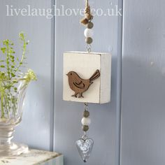 Bird on Block Hanging Decoration £2.95