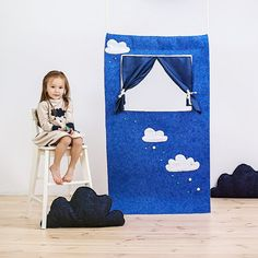 Waldorf style, wool felt doorway puppet theatre Summer rain develops your imagination and creativity. It will stay besides your little theatre