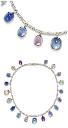 A wonderful necklace with diamonds and pretty, variously colored cabochon sapphires.