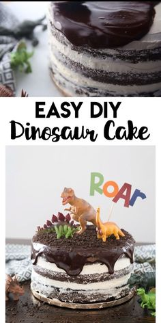 Cake: a simple and fun step by step tutorial to make you own dinosaur cake that is perfect for any dino lover!Dinosaur Cake: a simple and fun step by step tutorial to make you own dinosaur cake that is perfect for any dino lover! Dinosaur Birthday Cakes, Diy Birthday Cake, Dinosaur Dinosaur, Boys Birthday Cakes Easy, Dinosaur Themed Food, Camping Birthday Cake, Dinosaur Party Favors, Elmo Birthday, Dino Cake