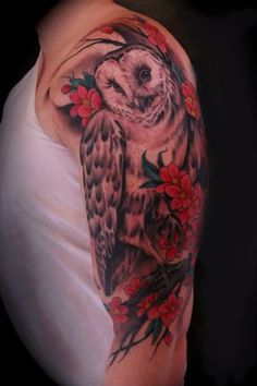 Barn Owl with Flowers Arm Tattoo