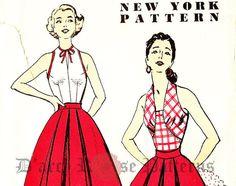 New York 1626 Vintage 1950er Jahre Neckholder von DRCRosePatterns