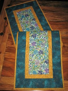 Quilted Table Runner, Blue, Purple And Gold Filigree Paisley, Reversible  Runner, Flower