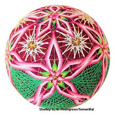 waving threads and daisies Paper Flower Ball, Paper Flowers, Temari Patterns, Thread Art, Japanese Embroidery, Christmas Centerpieces, Japanese Culture, Fabric Art, Color Themes