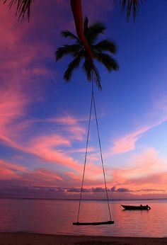 Palm trees are so great for this! They bend towards the water and make a great over the ocean swing!