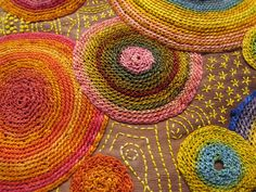 "embroidered circles - Close up of Marty Jones work ""Encircle"""