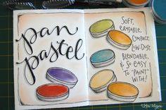 {this was created in my elvie journal using pan pastels, pitt pens, 4B graphite pencil, uniball signo white gel pen}elvie studio