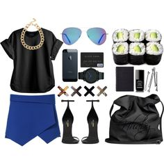 """Black and electric"" by nhabyg on Polyvore"