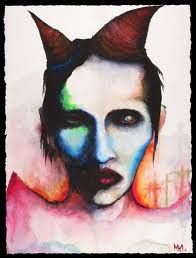 Marilyn Manson, autoportrait (watercolor)