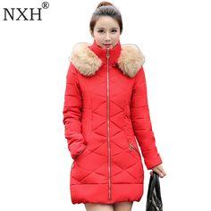 NXH 2017 New Fashion winter jacket women down cotton jacket long sleeve Slim fack fur collar hooded winter coat  parka Plus Size