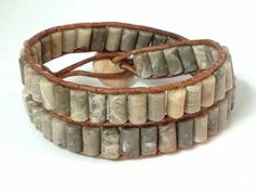 Fossil Coral bohemian leather double wrap bracelet by techGLAM