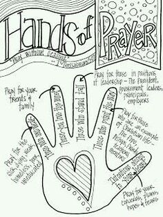 """Look to Him and be Radiant: Hands of Prayer. Would change the """"pointer finger"""" to pray for our elders, deacons, minister, Bible class teachers, etc. Bible Lessons For Kids, Bible For Kids, Preschool Sunday School Lessons, Youth Group Lessons, Preschool Bible Lessons, Sunday School Activities, Sunday School Crafts, Bibel Journal, Prayer Stations"""