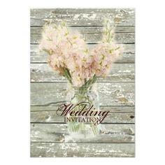 rustic country floral mason jar wedding invitations