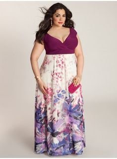 "IGIGI Plus Size Clothing by Yuliya Raquel ""Ziva"" Maxi Dress, $190 via IGIGI.Com --- Beautiful floral watercolor patterned maxi skirt matched with a berry-clolored top create a uniquely springtime look. (And of course, I had to pin a name matching one of my favorite badass girls from the TV show ""NCIS:""!)"