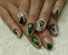 Negative space nails. Cellophane nails, glass nails. Green and black. #PreciousPhanNails