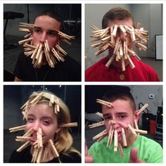Clothes Pin Face challenge - youth group game (Minutes To Win It Games For Teenagers)