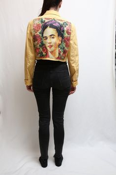 #Upcycled #jacket #Vintage #clothes and #Handmade by #MadeWithUnicorns #etsy #art #artist #mexican #painting #printing #fashionista #fashionbloger #streetstyle #90s #naked #cigarette #smoked #rare Frida Kahlo Portraits, Oversized Jeans, Jacket Brands, Denim Jackets, Vintage Pink, Printing On Fabric, Naked, Bomber Jacket, Mexican
