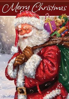 Santa Claus with his bag of toys Merry Christmas Pictures, Old Time Christmas, Santa Pictures, Old Fashioned Christmas, Christmas Scenes, Father Christmas, Santa Christmas, Vintage Christmas, Christmas Mantles