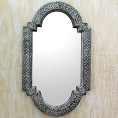 NOVICA Repousse Decorative Wood and Nickel Metallic Wall Mounted Mirror, 'Palace Window' (large)