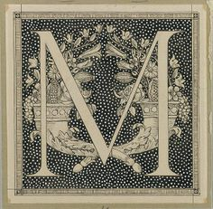 James Tissot (1836–1902) - Capital Letter M (between 1886 and 1894) - Ink on paper mounted on board