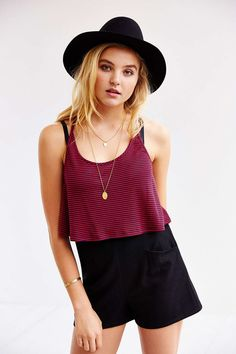 BDG Striped Cropped Racerback Tank Top - Urban Outfitters