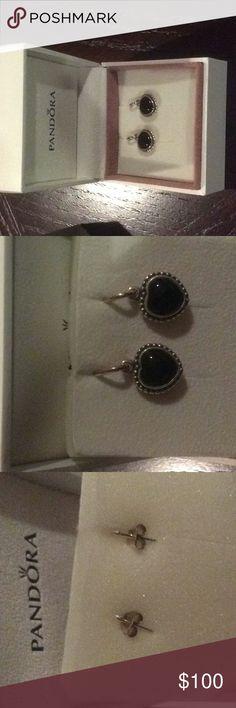 Pandora heart earrings retired Brand new never worn retired pandora hanging black onyx earrings Pandora Jewelry Earrings