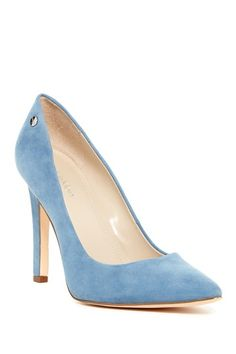 Image of Calvin Klein Brady Suede Pointed Toe Pump - Wide Width Available